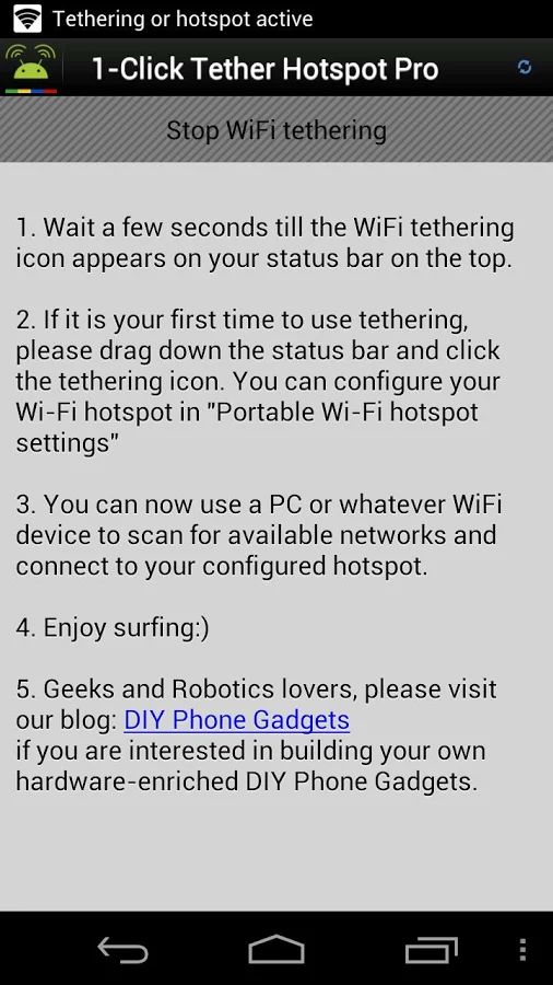 Free Wifi hotspot apps 1-Click Wifi tether no root