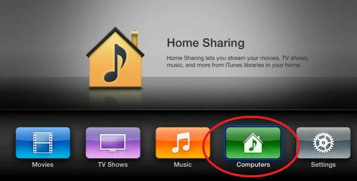 home sharing tv-Choisir ordinateurs sur l'Apple TV