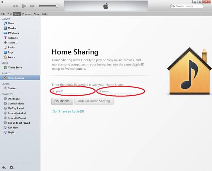 setup itunes home sharing-Enter Apple ID