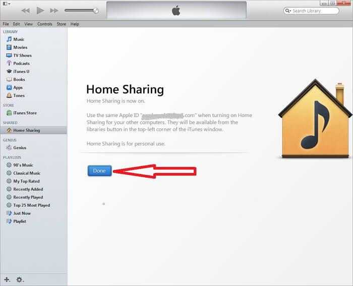 turn on home sharing on mac itunes 11