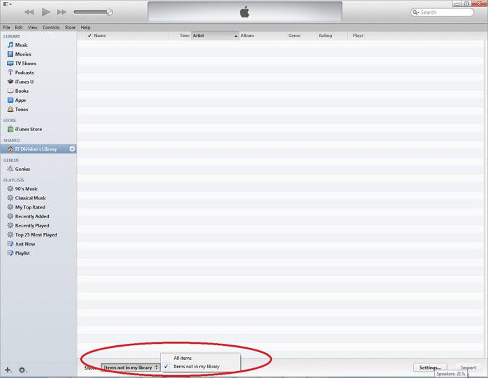 itunes file sharing folder-Items not in my library