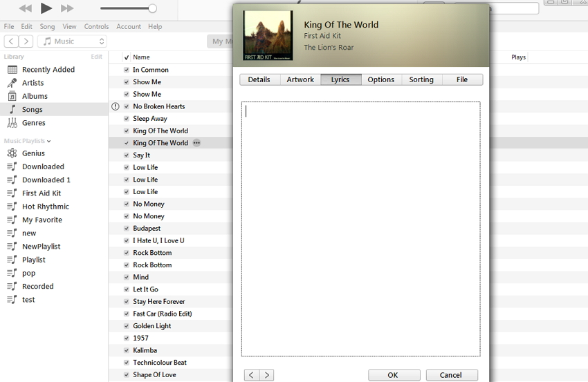 afficher manuellement les paroles sur iTunes