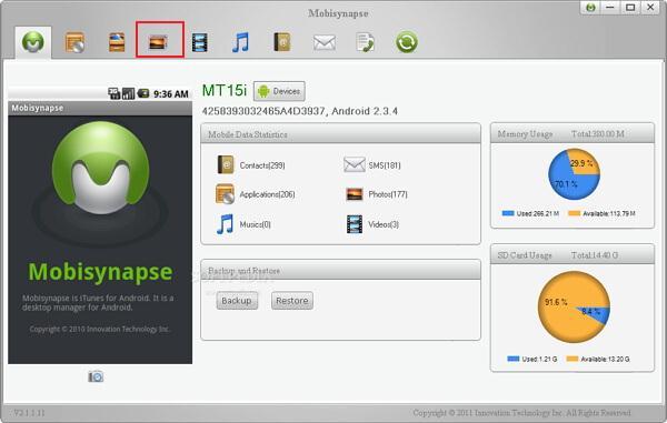 transfert de fichiers android gratuitement avec Mobisynapse