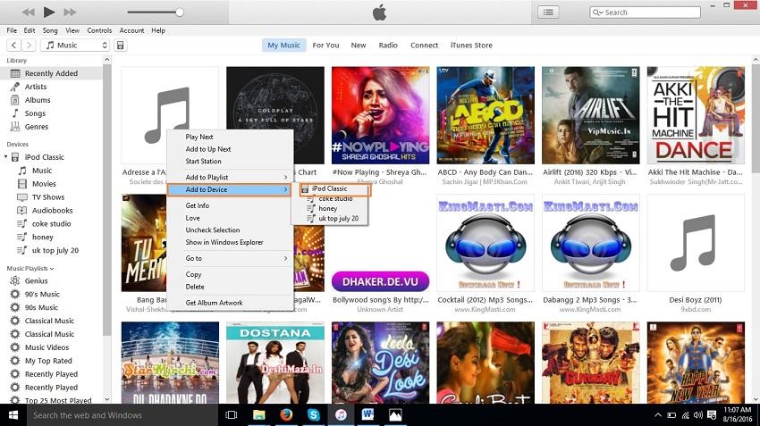 Organizar  música en el iPod-Agregar al Dispositivo