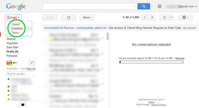 Transfert des contacts Gmail