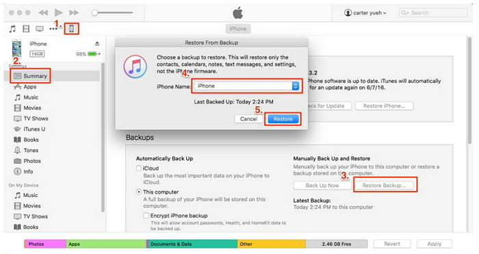 restore contacts to new iphone from itunes bakcup