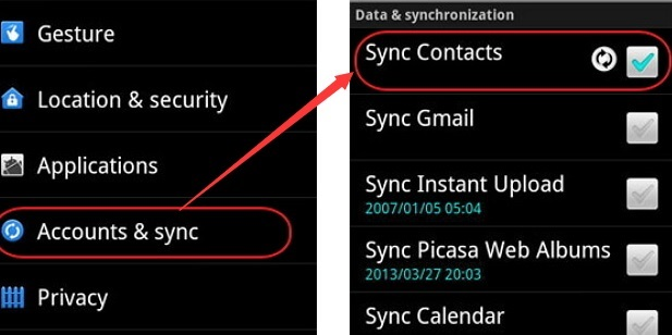 sync contacts to new phone using google account