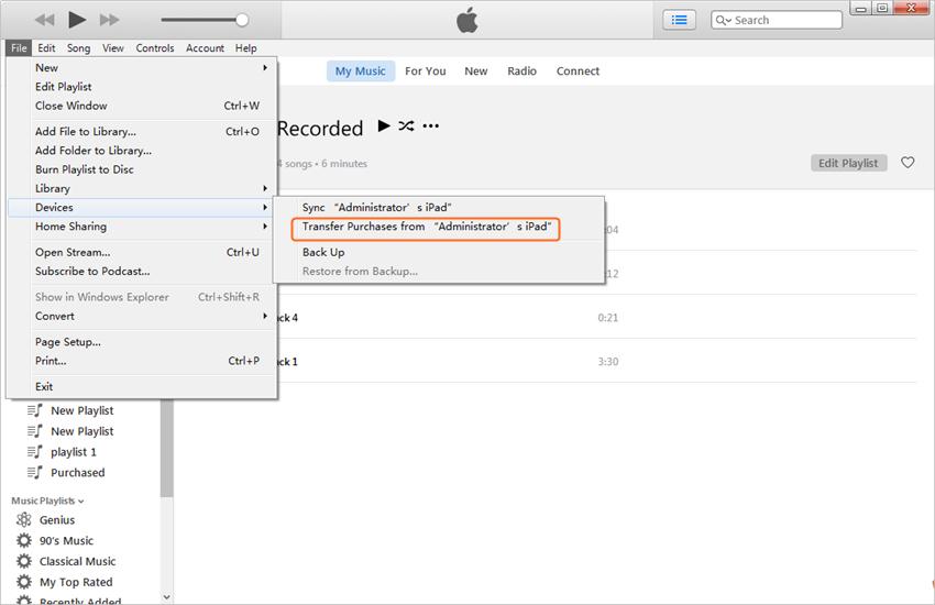 Transfert de musique d'iPad vers Mac - Transfert Achats