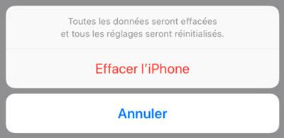 réinitialiser iPhone aux paramètres d'usine sans iTunes