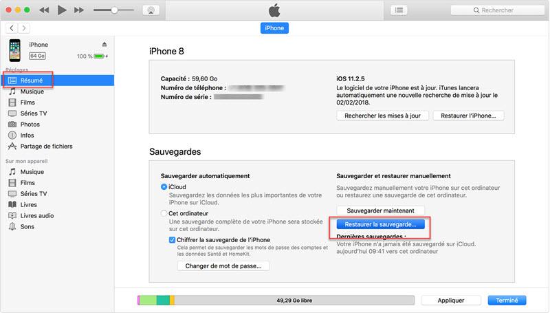 restaurer les données sur iTunes 2