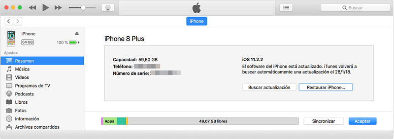 restaurar iphone con itunes