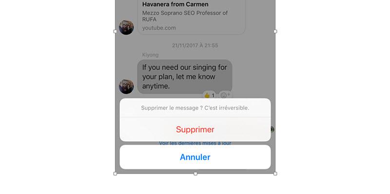 comment supprimer des messages de facebook messenger sur android