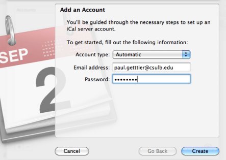 android and mac sync: create account