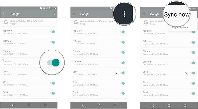 synchroniser android avec mac : comptes de synchroniseur