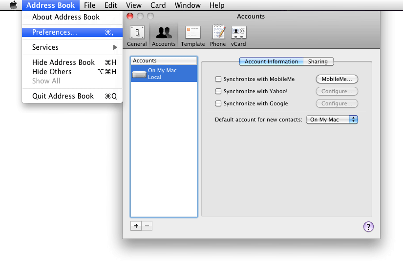sync android with mac: address book on mac