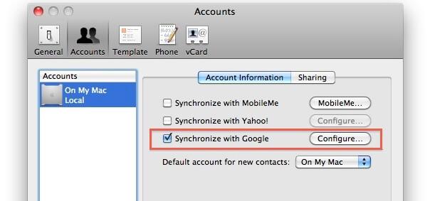 synchroniser android avec mac pour les contacts
