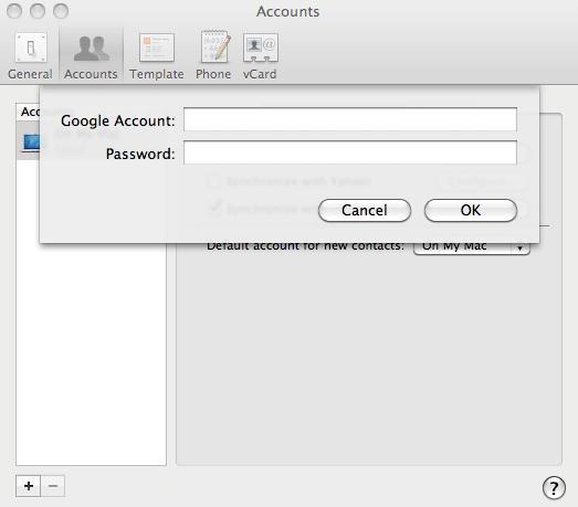 synchroniser android avec mac : entrez les identifiants gmail