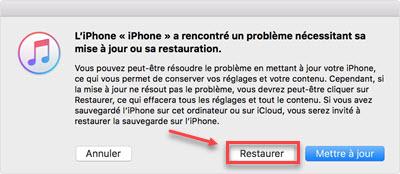 reinitialiser usine l'iphone avec iTunes 2
