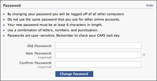 keep privacy secure on facebook - update password