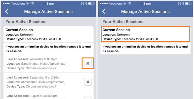 keep privacy secure on facebook - sessions of account