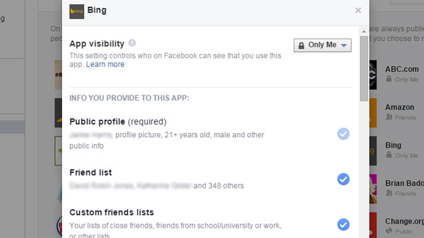 keep privacy secure on facebook - app settings