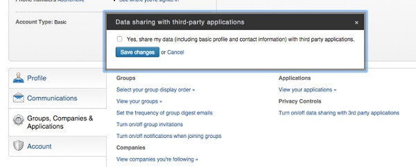 make linkedin secure - no data sharing with other apps