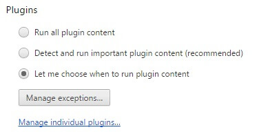 keep browser safe - plugin settings