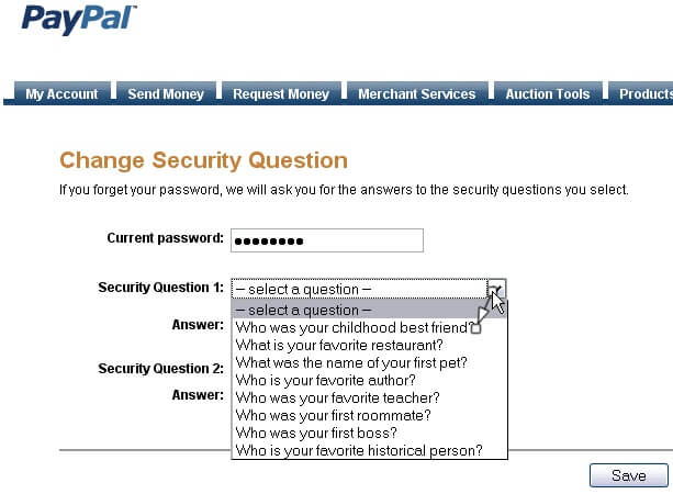 make online account safe - security questions