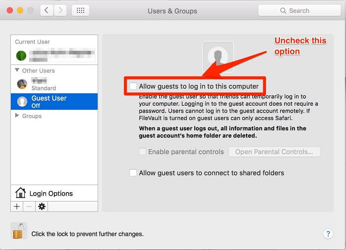 protect mac os privacy - no guest login