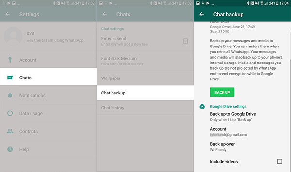 whatsapp privacy protection - cloud backup turned off