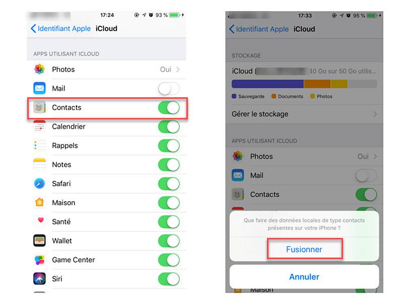 Comment sauvegarder des contacts iPhone avec iCloud