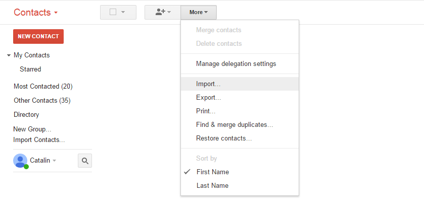 sync contacts from android to gmail-select Import