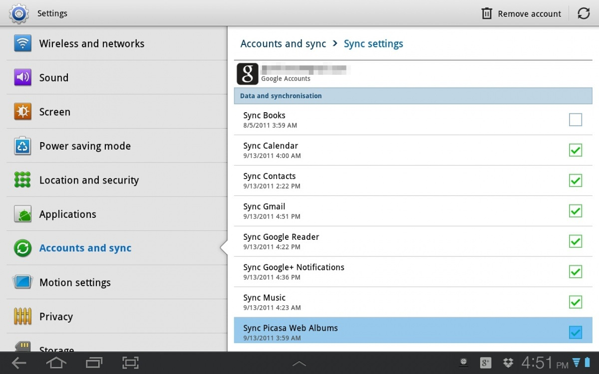 sync contacts from android to gmail-Choose your Gmail account