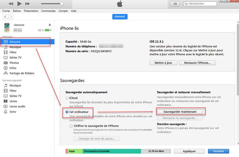 Transférer des données de l'ancien iPhone vers le nouvel iPhone