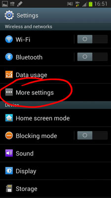 "transfer music from android to android-click on ""More Settings"""