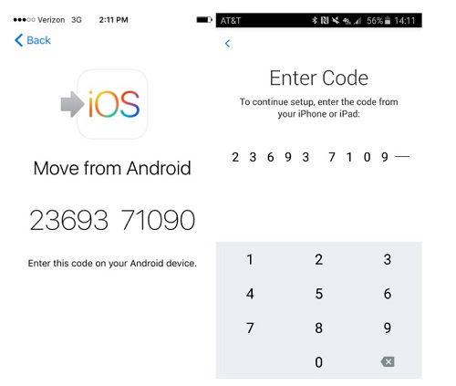 how to transfer photos from android to iphone-enrer the code