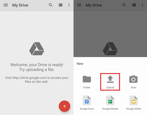 "how to transfer photos from android to pc-select the ""Upload"" button"