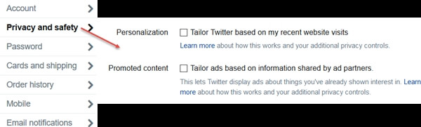 twitter privacy note - no tailored ads