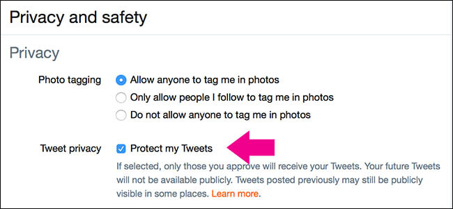 twitter privacy note - tweets protection