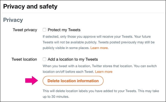 twitter privacy note - turn off location tracing