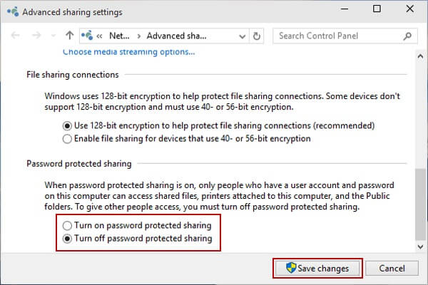 protect privacy on windows - password protected sharing