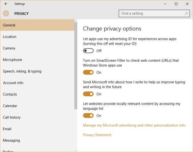 protect privacy on windows - privacy settings