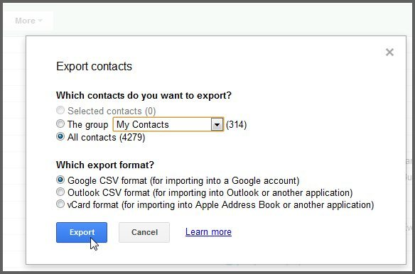 Export Outlook 2013 Contacts To Gmail