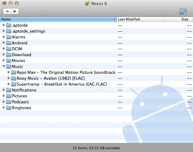 transfer data from android to mac-opy all the selected files