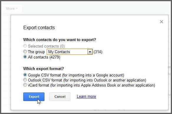 importar contatos do gmail para o android-selecione VCF/vCard/CSV como formato de exportação
