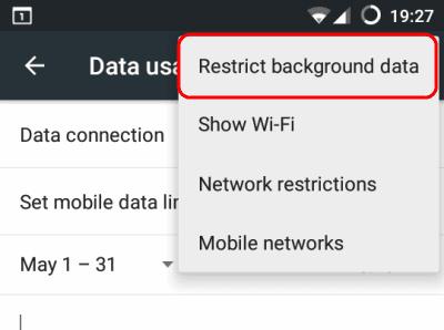 """importar contatos do gmail para o android-selecione """"Restringir dados em segundo plano"""""""