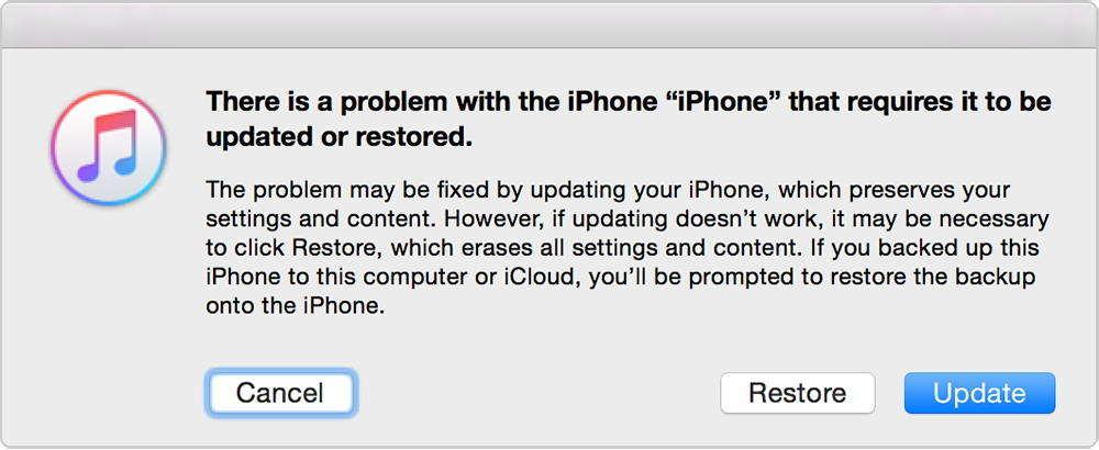 """Der iOS12-Downgrade steckt im Wiederherstellungsmodus fest ‒ klicken Sie auf die Option """"Wiederherstellen"""""""