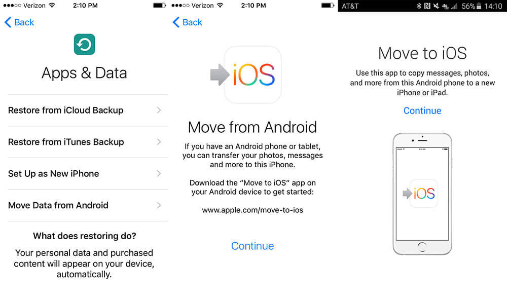 transfer data from samsung to iPhone XS/11 using move to ios