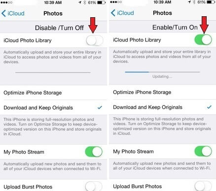 photos disappeared after ios 12 update-Reset iCloud Photo Library