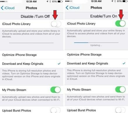 fotos desaparecieron después de actualizar ios 12 -Restablecer Biblioteca de Fotos de iCloud